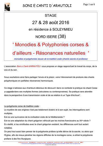 Monodies & Polyphonies corses & d'ailleurs - Résonances naturelles