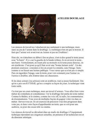 """ATELIER """"DOUBLAGE"""" dirigé par Benoît ALLEMANE"""